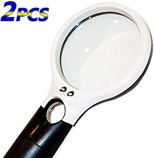 BESTSUN Magnifier 3 LED Light, 3X 45x Handheld Magnifying Glass with Light for Night Reading,Best for Jeweler Watch Repair...