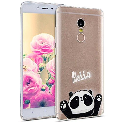 Uposao Kompatibel mit Hülle Xiaomi Redmi Note 4X Silikon Handyhüllen Bunt Muster Transparent TPU Silikon Handyhülle Durchsichtige Schutzhülle TPU Weich Tasche,Niedlich Panda