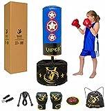 Viper Free Standing Kids Boxing Punch Bag Free Gloves Offer Blue Captain America Set Children Junior Adjustable Height
