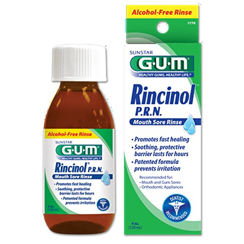 GUM Rincinol P.R.N. Alcohol-Free Mouth Sore Rinse, 4 Ounce Bottle