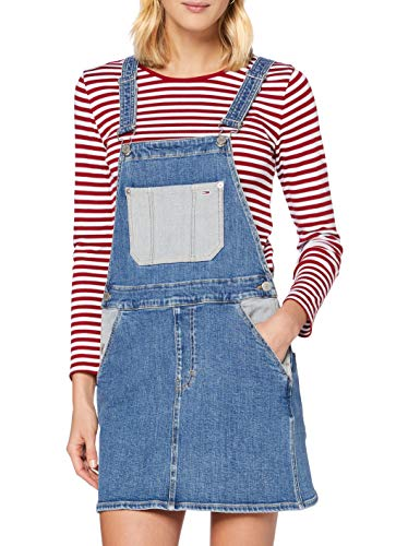 Tommy Jeans Tjw Striped Rib Crop Longsleeve Camisa, Rojo Vino Blanco, M para Mujer