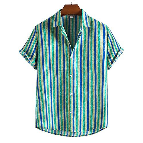 Byrotson Camisas de Rayas para Hombre de Verano Botn Casual de la Camisas de la Camisa de Manga Corta de Hawai, Camisa de la Playa de Aloha, Ajuste Regular,Verde,L