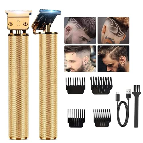 Professional Hair Trimmer, Zero Gapped T-Blade Close Cutting Hair Clippers for Men Rechargeable Cordless Trimmers for Haircut Beard Shaver Barbershop (4 Combs, Gold)