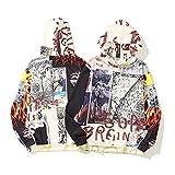JiaFang Marca de Marea de otoño e Invierno Letras de Graffiti de Hip-Hop Color Personalizado a Juego Casual Suelto suéter con Capucha suéter-Blanco, XXL