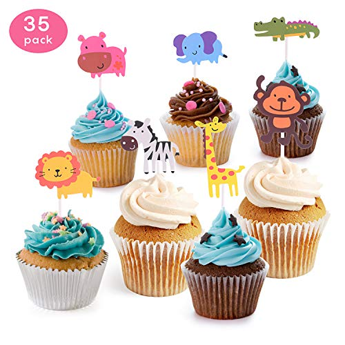 KATELUO 35 Stück Cupcake Deko,Muffin deko,Cute Zoo/Dschungel Tier Kuchen Cupcake Topper für Kinder Baby Dusche Geburtstag Party Supplies ,Löwe Nilpferd AFFE Elefant Zebra Giraffe Krokodi (Klein)