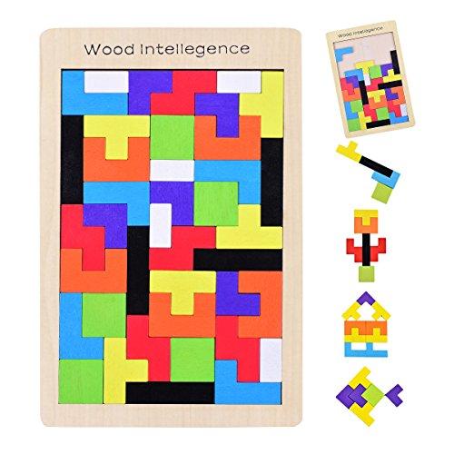 YoungRich Tetris Tangram Holzpuzzles Jigsaw Bausteine Spiel Spielzeug Bunte Holz Puzzles Box für Kinder und Erwachsene Educational Intellectual Imagination Learning & Activity
