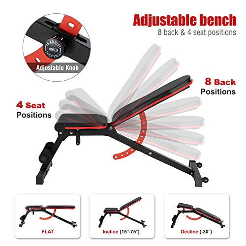 ER KANG Adjustable Weight Bench- 8+4 Positions Fitness Workout Bench, Multi-Purpose Incline/Deline/Flat Bench for Home Gym, Strength Training