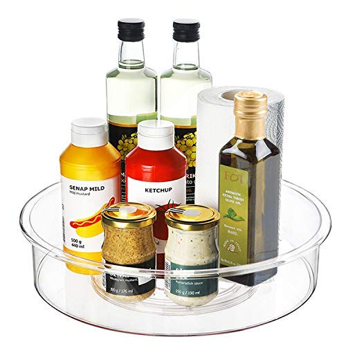 Lazy Susan Turntable, 12 inch Clear Plastic Lazy Susan Cabinet Organizer Spinning Kitchen Storage for Pantry…