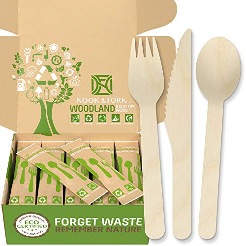 Woodland Premium Disposable Wooden Cutlery – Biodegradable Utensils Set of Forks, Spoons, Knives – 50 Wooden Silverware Packs by Nook & Fork
