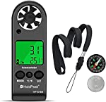 Anemometer Handheld Wind Speed Meter Gauge HoldPeak 816B Air Flow Velocity Measurement with Wind Chill Indication and Backlight for Windsurfing Kite Flying Shooting (Gift : Compass)