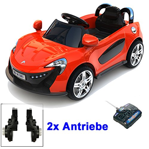 Roadster mit 2x Motoren mp3 LED Elektro Kinderauto Kinder Auto Elektroauto Elektrofahrzeug (rot)