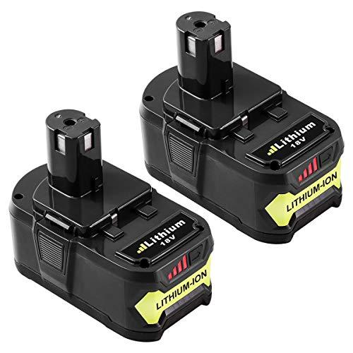 Topbatt 2X 18V 5.0Ah Ersatzakku für Ryobi Akku Li-ion One+ RB18L50 RB18L40 RB18L25 RB18L15 RB18L13 P108 P107 P122 P104 P105 P102 P103 mit LED-Ladeanzeige Elektrowerkzeuge