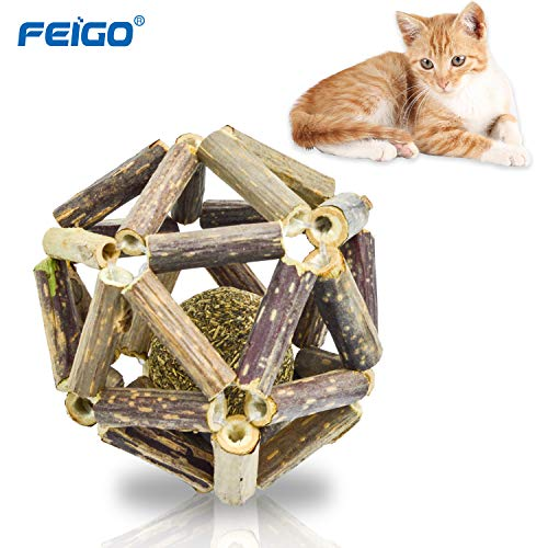 FEIGO Katzenminze Sticks + Ball, Katzenspielzeug aus Matatabi Kaustäbchen Sticks Zahnpflege Natur Unterstützen die Natürliche Zahnpflege helfen spielerisch bei Mundgeruch & Zahnstein