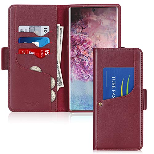 Toplive Galaxy Note 10+ Plus Case/Galaxy Note 10+ Plus 5G Case, Luxury Cowhide Genuine Leather Samsung Galaxy Note 10+ Plus Wallet Case with Kickstand,Wine Red