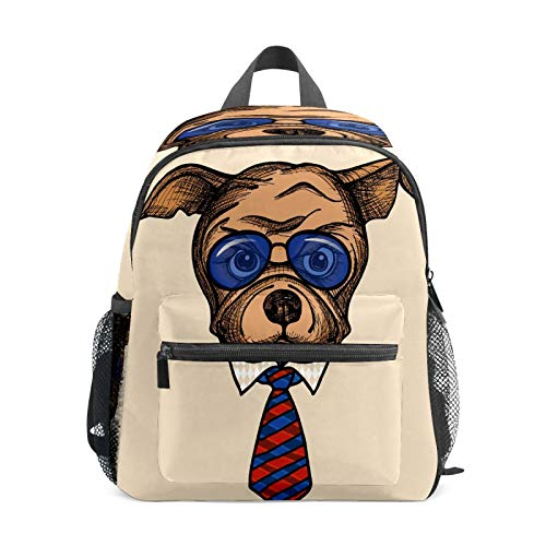 Kids Backpack Preschool Kids School Bag Boy Girl Lightweight Shoulder Book Bag for 1-6 Years Old Perfect Back Pack for Toddler to Kindergarten Fashion Bulldog Tie Sunglasses Art