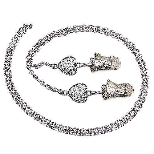 Glasses Chain Eyeglass Strap Face Mask Lanyard Holder Bling Stone Sunglasses Cord Clip-White Heart