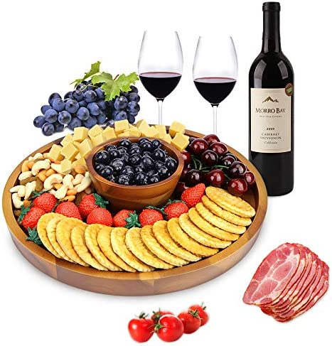AIDEA Wood Cheese Board 12Inch Charcuterie Platter and Serving Tray for Cheese Crackers and product image