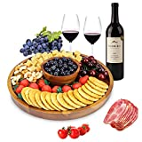 AIDEA Wood Cheese Board,12Inch Charcuterie Platter and Serving Tray for Cheese,Crackers and Appetizer.Large & Thick Wooden Cake Stand