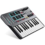 Donner DMK 25 MIDI Keyboard Controller Music Mini Key With 8 Backlit Drum Pads, 4 Knobs 4 control faders MIDI Controller BLACK