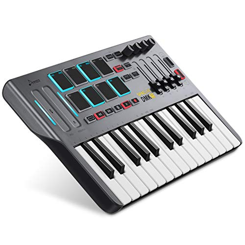 Donner USB Type-C 25 Tasten MIDI Keyboard Mini DMK25, Professioneller MIDI Controller mit AIR-Touch Bar (Pitch,Modulation), 8 hintergrundbeleuchtete Drum Pads, 4 Regler und 4 Control Slider, Schwarz
