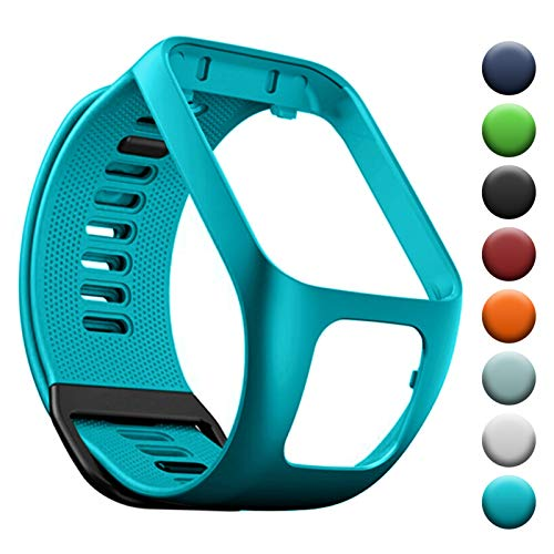 YHC Cinturino in Silicone per Tomtom Runner 3 2 Spark 3 Golfer 2 Braccialetto Compatibile con Tom Tom Adventurer (04-Blu Verde)
