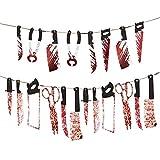 2 paquetes Decoración de Armas Sangrientas de Halloween, Pancarta de Miedo Colgante de Halloween, para Decoración de Fiesta Temática de Casa Embrujada de Halloween (8 piezas, 12 piezas)