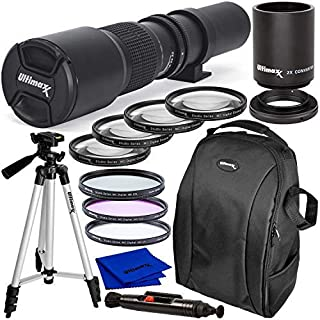 Ultimaxx 500mm (w/ 2X Converter 1000mm) f/8 Manual Multi-Coated Preset Telephoto Lens Kit for Canon EOS 9000D 800D 760D 75...
