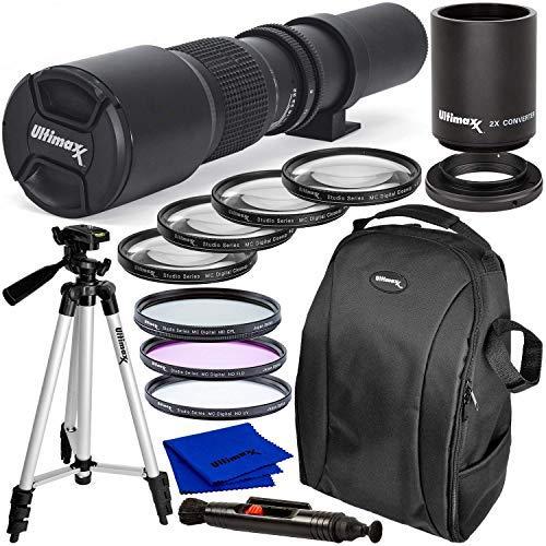 Ultimaxx 500mm f/8 Preset Telephoto Lens Kit for Nikon D7500, D500, D600, D610, D700, D750, D800, D810, D850, D3100, D3200, D3300, D3400, D5100, D5200, D5300, D5500, D5600, D7000, D7100, D7200