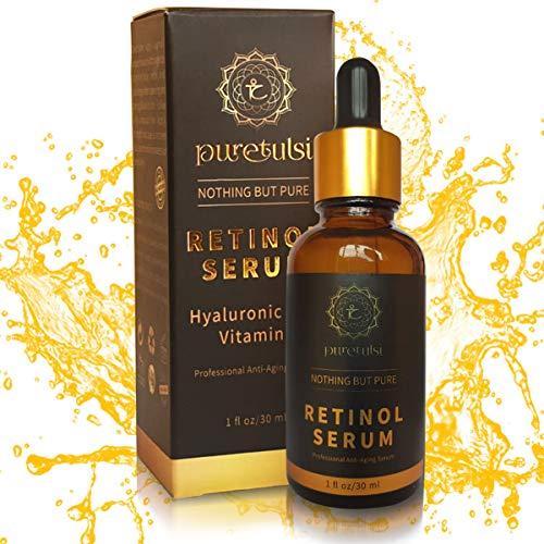 Puretulsi retinol serum Biologisch Veganistisch, 100% natuurlijk met 2,5% hoge dosis vitamine A, vitamine C, E en B5 hyaluronzuur, anti-veroudering, anti-rimpel, geen chemicaliën, geen parabenen en dierproefvrij