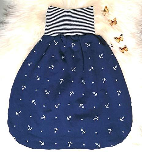 Strampelsack Schlafsack Pucksack in 2 Größen und Varianten Baby kleine Anker und Sterne blau