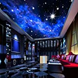Mural de pared 3D personalizado papel tapiz de estrellas brillantes paisaje Natural vista nocturna papel de pared de techo para sala de estar sofá telón de fondo Hotel-S