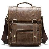 Bolsa de Hombro de Cuero de los Hombres Capa de Cuero de la Capa Cubierta de Cuero Postman Bag Handbag-marrón