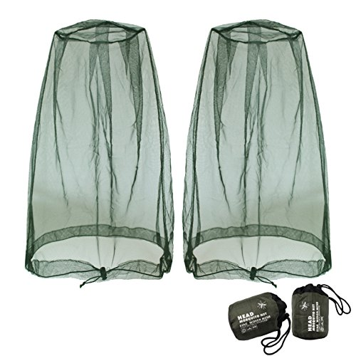 Benvo Head Net Mesh, Protective Cover Mask Face from Insect Bug Bee Mosquito Gnats for Any Outdoor Lover- with Free Carry Bags (2pcs, Olive, Updated Big Size)