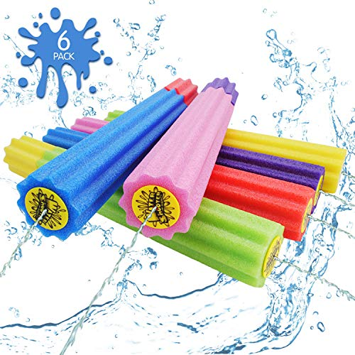 DraMosary Water Blaster Soaker Gun for Kids, 6 Pack Safe Foam Noodles Pump Action Outdoor Squirt Gun...