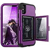 iPhone X/XS Wallet Case - WeLoveCase Defender Wallet Design with Hidden Back Mirror and Card Holder 3 in 1 Hybrid Heavy Duty Protection Shockproof Armor Protective Case for iPhone X/XS - Purple