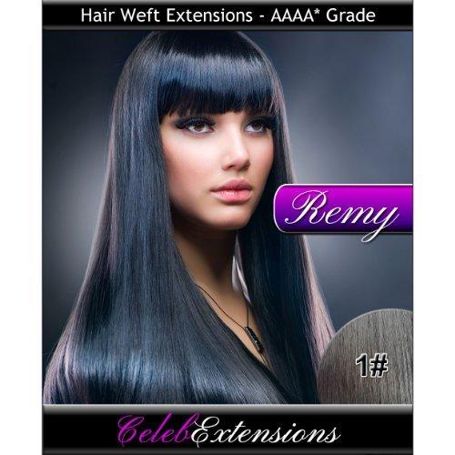 45,7 cm 1 # Jet Noir Indiens 100% humains Remy Hair Extensions capillaires Cheveux. Tissage Silky droit 6 m Poids : 100 g AAAA de grande qualité. Qualité. Par celebextensions