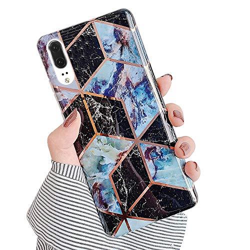 Urhause Kompatibel mit Huawei P20 Hülle TPU Silikon Bunt Schutzhülle,[Marmor Muster Silikonhülle] Hülle Gemalt,Ultra Slim Durchsichtig mit Muster Bumper Stoßfest Hülle,Dunkelblau