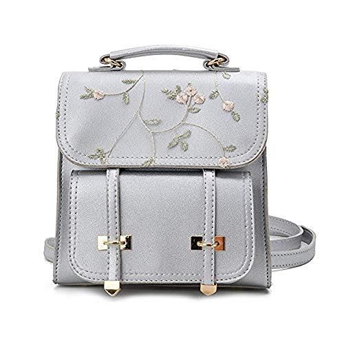 Yazi Casual Daypacks Backpack Girls in Teens Leather Women Shoulder Bag Backpack Floral Embroidery Design Backpack Fashion School Grey Grey M