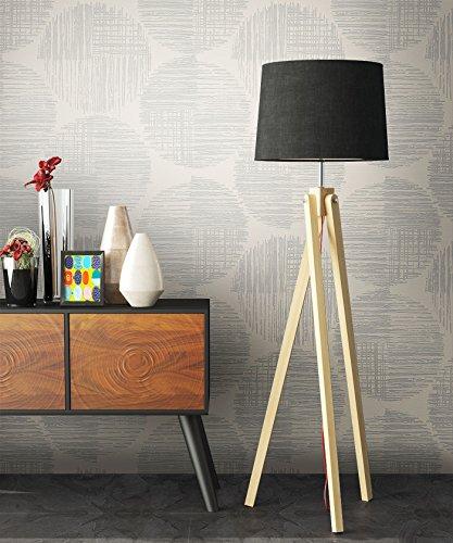 Vliestapete Metallic Grau Kreise Edel , schöne edle Tapete im Grafik Design , moderne 3D Optik für Wohnzimmer, Schlafzimmer oder Küche inklusive der Newroom Tapezier Profibroschüre mit super Tipps!