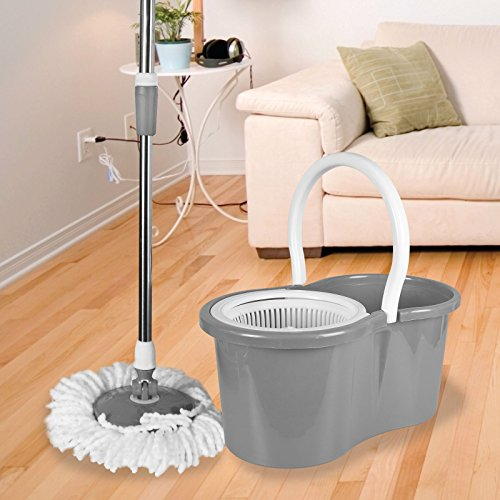 ASAB 360° Spinning Floor Mop and Bucket Set with 2 Microfibre Heads | Easy...
