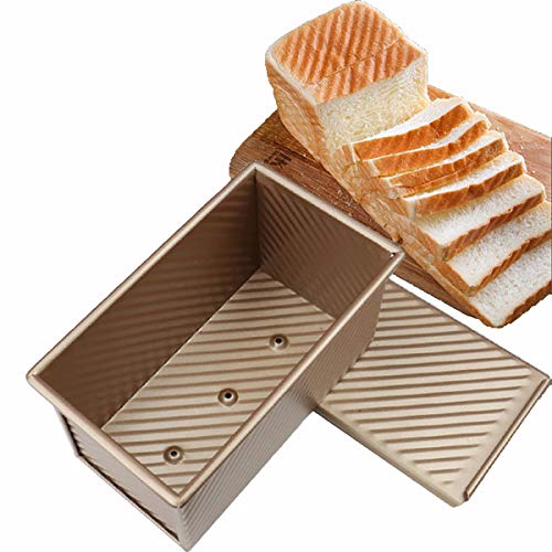 Pullman Loaf Pan with Lid Non-Stick Toast Pan Box Mold for Baking Bread Bakeware Bread Toast Mold Aluminum Alloy, Toast Bread Box Mold Pan Bread Baking Pan (Gold)