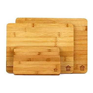 "Bamboo Cutting Board Set: (3) Small Medium & Large, 6""x8"" 9""x12"" 10""x13"" Cutting Chopping Mincing Crushing Serving Naturally Anti-Microbial Eco-Friendly Fully Reversible!"