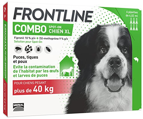 FRONTLINE Combo Chien - Anti-puces et anti-tiques pour chien - plus de 40kg - 6 pipettes