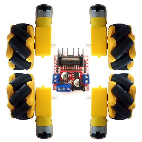 Wheel Robotic Omni-Directional Wheel 4WD Robot Smart Car with TT Motor L298n Drive Controller Board Module for Arduino UNO R3 Raspberry Pi 4/3B/Microbit Robot Car Kit DIY Toy 60mm 4pcs