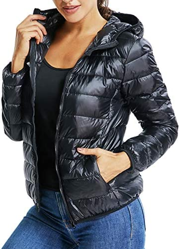SEASUM Women s Hooded Packable Ultra Light Weight Short Down Jacket Parka Insulated Coat M product image