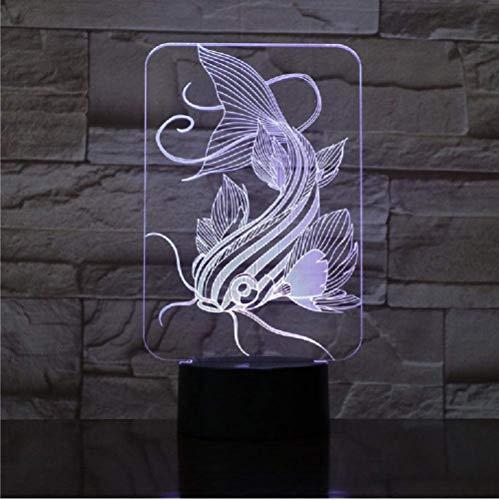 Luz de noche óptica 3D con ilusión óptica de pez y bagre Variou de color opcional 7 colores luz nocturna para niños y niñas como regalo perfecto en cumpleaños o vacaciones