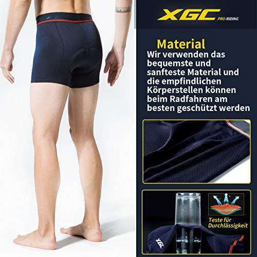 XGC Herren Radunterhose Radsportshorts Fahrradhosen mit elastische atmungsaktive 3D Gel Sitzpolster mit Einer hohen Dichte (Blue, L) - 4