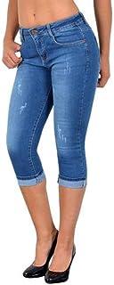 Plus Size Moda Estate Donna Jeans Skinny a Vita Alta Lunghezza al Ginocchio Buco strappato Denim Capri Slim Streetwear Pan...
