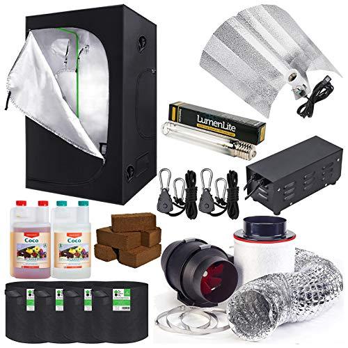 Hydroponics Complete Grow Room Tent Kit - Twin Speed Fan Filter Kit - Dual Spectrum Light Kit 600w - 120 x 120 x 200cm Grow Tent