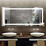 LED Lighted Bathroom Mirror with Touch Screen, Extra Large Bathroom Vanity Mirror for Wall, Wall Mirrors for Bathroom with Lights, White Mirrors, backlit Mirror, espejo de baño 71X32 In D-CK010-A